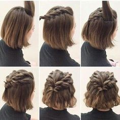 10 Belles Coiffures Faciles sur Cheveux Courts | Coiffure simple et facile Braided Crown Hairstyles, Short Hairstyles Over 50, Older Women Hairstyles, Easy Hairstyles, Updos, Brown Hair, Messy Short Hair, Headbands, Hair Styles 2016