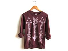Tri Arrows  Hand STENCILED Crew Neck Fleece by twostringjane, $54.00