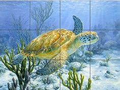 sea turtle painting murals   green sea turtle - Painting - Nature Art by Beth Hoselton
