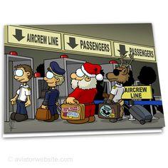 aviation christmas card santa security 10 cards - Aviation Christmas Cards