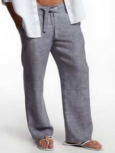 Drawstring  Linen Pants for Men by LittleLilbienen on Etsy
