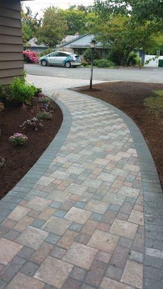 Concrete Pathway, Concrete Patio Designs, Patio Slabs, Paver Walkway, Walkways, Grey Pavers, Front Yard Landscaping, Portland Oregon, Backyard