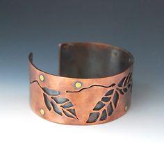 Nature Inspired Copper Leaf Cuff by cyndiesmithdesigns on Etsy $75 - beautiful hand cut copper!