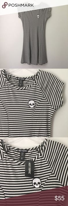 """GOTH SKULL PATCH RIBBED SOFT STRECH STRIPE DRESS!! Hot Topic Goth Gothic Punk Rock Emo Scene Grunge Witchy Spooky Halloween GORGEOUS Black White Stripe Striped Skull Skulls Skeleton Patch Ribbed Flowy Knit Tight Fitted Bodycon Flare Skirt Dress Gown    Brand new with tag    NO flaws    MSRP: $34.90    Size: Women's Small.    Chest - 16"""" across • Length - 30"""" long    ULTRA SILKY SOFT, smooth, stretchy, lightweight & comfortable! ALL SALES ARE FINAL. Priced a little higher because 1) this…"""