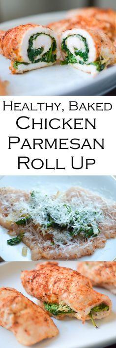 Healthy Baked Chicken Parmesan Roll Up #lmrecipes #glutenfree #gf #gfrecipes #chicken #chickendinner #chickenrecipes #healthy #healthydinner #lowcarb #lowfatrecipes #foodblog #foodblogger