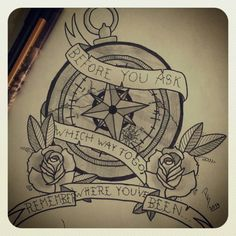 Broken compass tattoo design by ParkwayPerry
