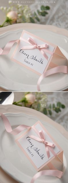 Simple & Elegant Wedding Place Card with ribbon #pink #white #weddingstationery #romantic #dreamywedding