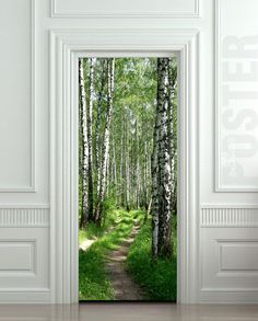 "Way Cool.  Wall Door STICKER birch forest road way passageway mural decole film poster 31x79""(80x200cm $29.99:"