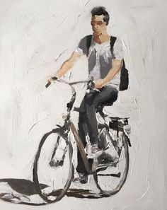 Cycling Painting Cycling Art Cycling PRINT Man on Bicycle - Art Print - from original painting by J Coates Original Oil Painting or Print Cycle Drawing, Cycle Painting, Figure Painting, Painting Art, Bicycle Tattoo, Bicycle Art, Art Sketches, Art Drawings, Collages
