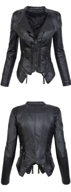 There is nothing quite like the Asymmetric Zipper Slim Lapel Women's Jacket!
