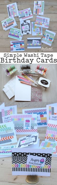 Simple Washi Tape Birthday Cards: Papercrafting Simple birthday cards are the best! You can make a bunch in one day and have all the birthday cards you need for the year. They are simple and fast to make. Simple Birthday Cards, Handmade Birthday Cards, Happy Birthday Cards, Birthday Greeting Cards, Diy Birthday, Birthday Gifts, Birthday Greetings, Birthday Quotes, Birthday Wishes