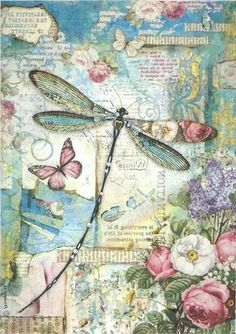 Rice Paper for Decoupage Scrapbook Craft Sheet Wonderland Blue Dragonfly Vintage Cards, Vintage Paper, Vintage Images, Paper Art, Paper Crafts, Etiquette Vintage, Dragonfly Art, Decoupage Vintage, Vintage Prints