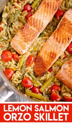 Lemon Salmon Orzo Skillet is an easy one pot recipe, perfect for a healthy 30 minute weeknight dinner! Orzo pasta, asparagus and cherry tomatoes compliment fresh salmon for a delicious low calorie meal. - One pot rezepte Salmon Orzo Recipe, Salmon Recipes, Fish Recipes, Seafood Recipes, Vegetarian Recipes, Cooking Recipes, Healthy Recipes, Recipies, Dinner Recipes