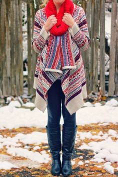 Long boots with tights and red scarf