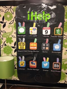 iHelp job chart...I loved this idea and decided to use app pictures for the jobs and stylus pens for the children's names.