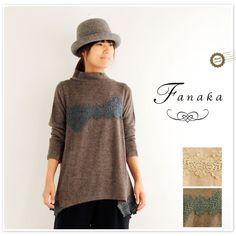 【Fanaka ファナカ】 レース モチーフ パッチワーク Aライン ニット チュニック (62-2552-307)
