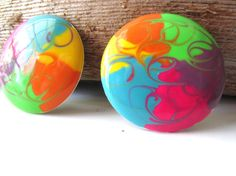 Bright Pair of Round Neon Colored Pierced by LolaandRettsdelight, $12.00