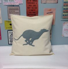 Whippet  A gorgeous natural cream cotton calico cushion cover with a grey felt running whippet applique  Available in a choice of sizes: 14 x 14 inches 16 x 16 inches 18 x 18 inches 20 x 20 inches 22 x 22 inches 24 x 24 inches  Perfect for animal lovers to add your own unique style to a room!  The reverse has an easy access envelope style opening All machine stitched, no glue is used in the making  The sale is for the cover only, pads are not included All items are handmade with love in our…