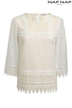 Naf Naf cotton lace blouse