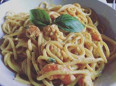 Spaghetti crevettes au curry