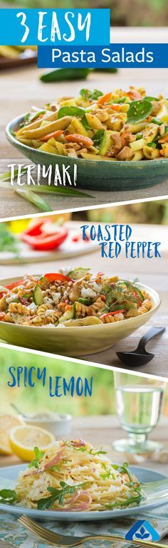 Perfect pasta salads made simple! These three recipes only take 15 minutes each and are ideal for quick weeknight dinners or lazy lunches.