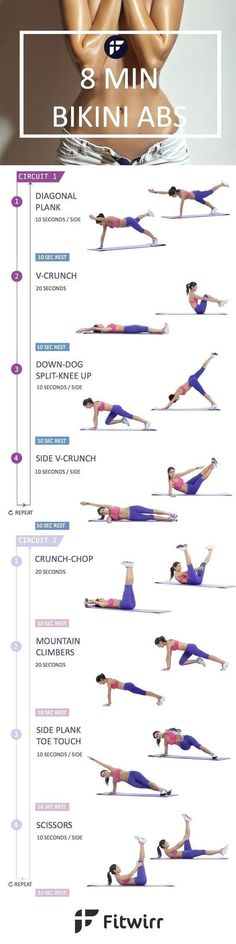 Take this 8-minute abs workout challenge to tone your abs. The challenge is to see if you can do all the 8 exercises with a good form in 8 minutes. #fitnessworkouts