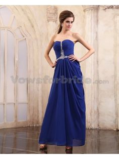 Chiffon Sweetheart Ankle-Length Column Evening Dress with Beaded and Ruffle
