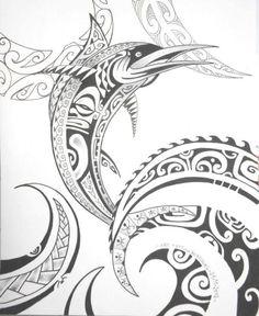 Maori Symbols   Big Fish & Waves Tattooed with Maori Polynesian Design & Symbols