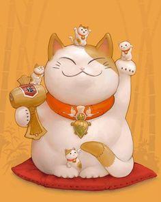 Risultati immagini per buon compleanno maneki neko Maneki Neko, Neko Cat, Crazy Cat Lady, Crazy Cats, Image Japon, I Love Cats, Cute Cats, Print Image, Asian Cat