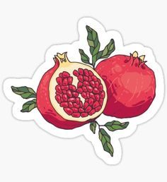 """""""Juicy pomegranate fruits"""" Stickers by Zhivova Food Stickers, Printable Stickers, Cute Stickers, Phone Stickers, Pomegranate Tattoo, Pomegranate Fruit, Pomegranate Drawing, Tumblr Stickers, Aesthetic Stickers"""