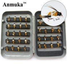 Anmuka A4 dry fly lures 40pcs/lot flies fishing bait 1.5cm worm hook plastic box pesca Fishing Tackle Free shipping 81024