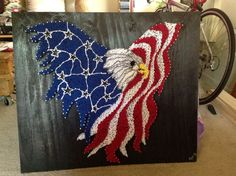 American Eagle with usa flag string art!
