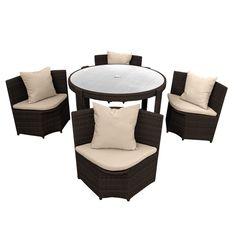 anndora Polyrattan Gartenmöbel Braun Sitzgruppe 1 Tisch 4 Sessel ...