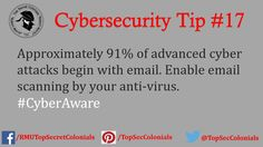 Approximately 91% of advanced cyber attacks begin with email. Enable email scanning by your anti-virus. #CyberAware