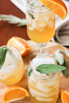 Honey Bear Cocktail: A simple syrup of honey, sage, and orange is combined with bourbon. Makes a fresh, mellow, slightly sweet cocktail that's perfect for fall.
