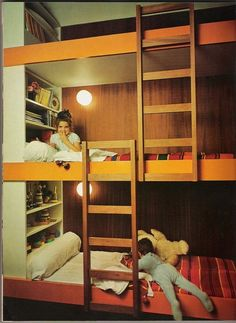 Love that each bunk has it's own book shelf right there. Again needs some safety 'bars'.Something to keep the kids/whoever from falling off.