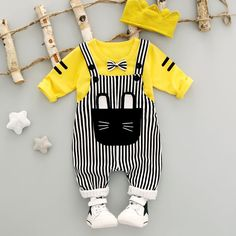 Summer Baby Girls Boys Stripe Straps Overalls+Lon Infant Cotton Casual Cute Cat And Bowknot Shirt Pants Kid Suits #Affiliate