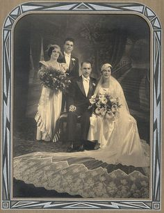 Wedding party (bride and groom seated, maid of honor and best man standing), c. 1930s.