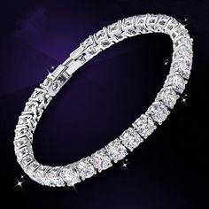 18K White Gold Plated White Sapphire & Round Zirconia Tennis Bracelet