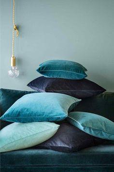 color palette - blues, Velvet Pillows
