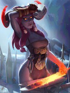 League of Legends Warriors Swords Blacksmith Ornn Games Girls Fantasy Fantasy Girl, Fantasy Races, Fantasy Warrior, Fantasy Women, Dungeons And Dragons Characters, Dnd Characters, Fantasy Characters, Female Characters, League Of Legends