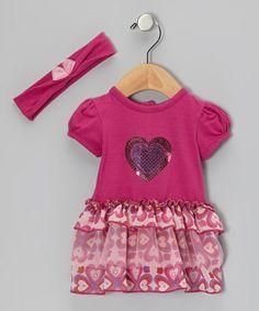 Love this Fuchsia Heart Skirted Bodysuit & Headband - Infant by Vitamins Baby on #zulily! #zulilyfinds