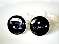 u plus me equals us and custom date cufflinks by door whitetruffle, $42.00
