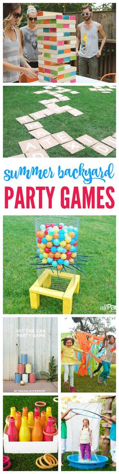 I love Summer! There's nothing better than a Summer Backyard Party with Friends! These Summer Backyard Party Games are sure to make your BBQ a Success full of Fun Food, Games and Friends! I'm not sure (Favorite Party Friends) Summer Backyard Parties, Backyard Party Games, Backyard Bbq, Outdoor Parties, Outdoor Games, Wedding Backyard, Backyard Ideas, Backyard House, Luau Party Games