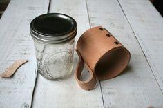 Handmade Leather Mason Jar Sleeve Coffee by GreyCricketStudios