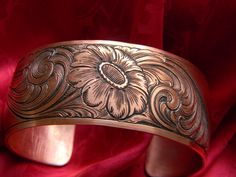 Hand engraved flower copper bracelet