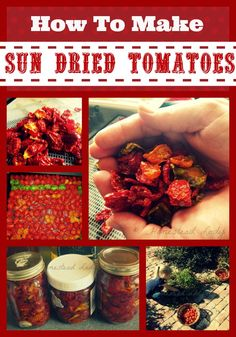 How to make and how to use sun dried tomatoes l Dry them with the sun, a dehydrator or an oven l Sun dried tomatoes are low carb friendly and healthy. Make Sun Dried Tomatoes, Cherry Tomatoes, Dehydrated Food, Dehydrator Recipes, Canning Recipes, Fruits And Veggies, Diy Food, Food Hacks, Preserves