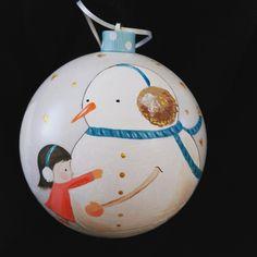 Χριστουγεννιάτικη μπάλα χιονάνθρωπος ζωγραφισμένη στο χέρι!