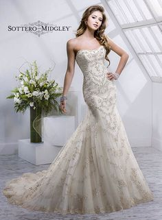 Great Gatsby Wedding Dress Wedding Dresses Sottero and Midgley Maggie Sottero Wedding Dress Collection Wedding Dresses Wedding Gown Wedding Gowns Bridal Gown Bridal Gowns Gorgeous Elegant Beautiful Mermaid Cut Sheath Fit and Flare Lace Tulle Sheer Organza Ivory