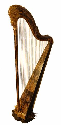 """1750 French Harp at The Bowes Museum, Durham - From the curators' comments: """"This harp is in the neo-classical style and is decorated with flowers, trophies of musical instruments and pendant swags. Unusually, this neo-classical style is mixed with the chinoiserie, or oriental, style, with coloured lacquers."""""""